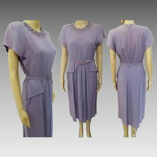 Vintage 1940s Dress | Lavender Dress | Half Front Peplum | Slightly Pleated Front | 40s Dress | 1940s Dress
