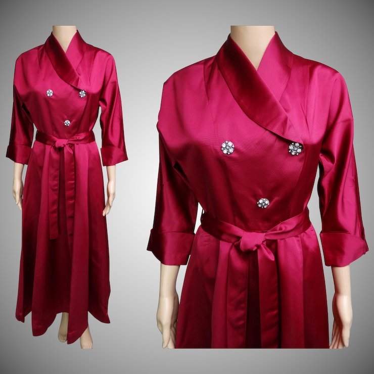 Vintage 1940s Dress | 40s Gown | Designer Gown | Rhinestone Buttons ...