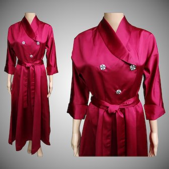 Vintage 1940s Dress | 40s Gown | Designer Gown | Rhinestone Buttons | Raspberry | Satin | Hollywood Glamour | 1940s Dress |