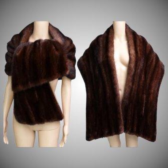Vintage Mink Stole | BROWN MINK STOLE | Revillon Freres | Paris New York | High Fashion | New Look | Mod | 1960s Mink Stole