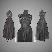 Vintage 1950s Dress  . 50 Gown  .  Party  .  Prom  .   Black  .  Rhinestones  .  XS