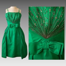 Vintage 1950s dress | 50s Emerald Green Dress |  Beaded Party Dress |