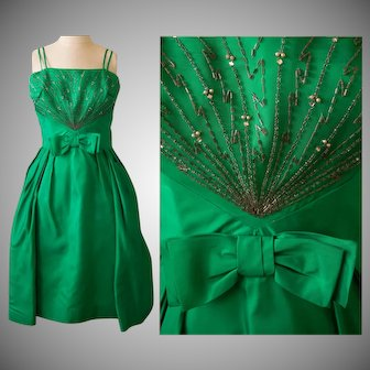 Vintage 1950s dress   50s Emerald Green Dress    Beaded Party Dress  
