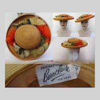 Vintage 1950s Hat //50s Hat//Silk Floral Hat//Designer// Femme Fatale//Mad Men//Rockabilly//Designer Hat//BernClaire Original//