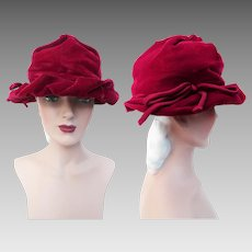 Vintage 1940s Hat | Raspberry Color | Rockabilly Hat | 40s Hat | Femme Fatale