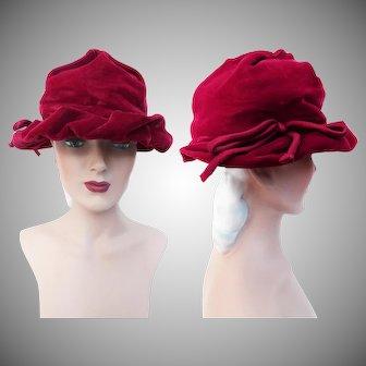 Vintage 1940s Hat   Raspberry Color   Rockabilly Hat   40s Hat   Femme Fatale