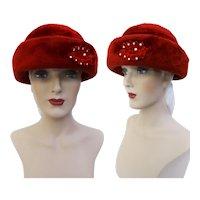 Vintage 1950s Hat | Red 1950s Hat | Rhinestone Ornamentation | Femme Fatale | Rockabilly Hat | 1950s Hat | 50s Hat |