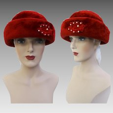 Vintage 1950s Hat | Red 1950s Hat | Rhinestone Ornamentation | Femme Fatale | Rockabilly Hat | 1950s Hat | 50s Hat |