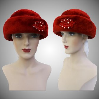 Vintage 1950s Hat   Red 1950s Hat   Rhinestone Ornamentation   Femme Fatale   Rockabilly Hat   1950s Hat   50s Hat  