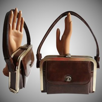 Vintage 1950s Purse   Brown Purse   Designer Purse   Outside Pocket   50s Purse   New Look   Rockabilly