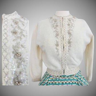 Vintage 1950's Beaded Sweater// 50s Cardigan//Pearls//50s Sweater//Macy Associate//British Hong Kong//Sequins