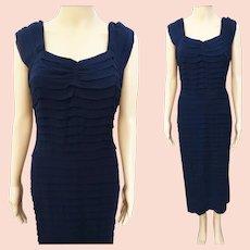 Vintage 1950s Dress | Navy Blue Dress | Rockabilly Dress | 50s Dress | 1950s Party Dress | Larger Size