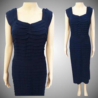 Vintage 1950s Dress   Navy Blue Dress   Rockabilly Dress   50s Dress   1950s Party Dress   Larger Size
