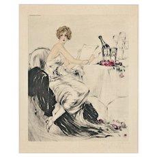 Art Deco Louis Icart signed original 1926 Ayala Champagne Lithograph