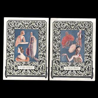 RARE PAIR-- Art Deco Lithographs of Fashion Accessories