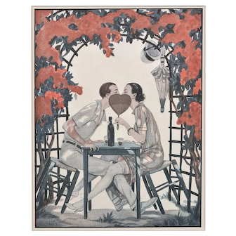 Matted Vintage Art Deco Print -Lovers