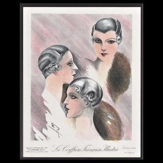 Vintage Art Deco Lithograph of Hair Designs