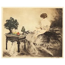 Matted Art Deco Louis Icart Lithograph -Woman
