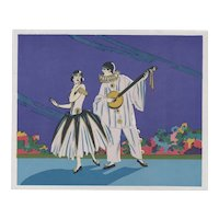 Set of 3-Vintage Art Deco prints-Pierrot & his Love