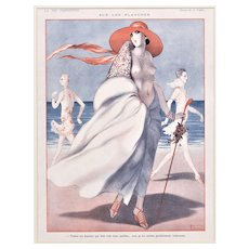 Matted Art Deco Vintage Print- Nude on the Beach