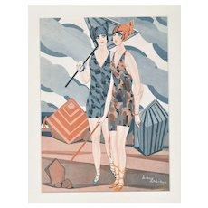 Matted Art Deco Vintage Print Bathing Beauties at Beach
