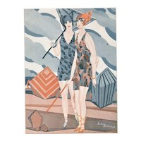 Matted Art Deco Vintage Print Bathing Beauties at Beach