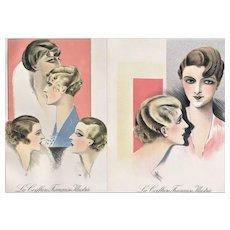 Pair- Vintage Art Deco 1931 Hair Design Prints