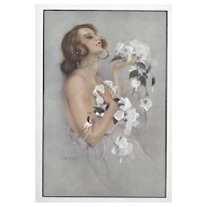 Matted Art Deco Lithograph -Nude with Roses