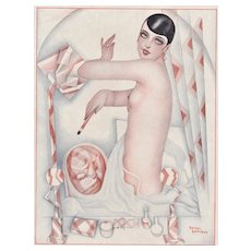 Matted 1920s Art Deco French Print of Nude and her Makeup