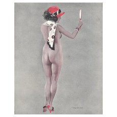 Matted Vintage Art Deco French Nude Print