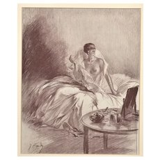 Matted French Art Deco 1931 Print-Nude in Bed