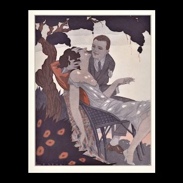 Matted Art Deco 1920's Vintage Print-Semi-Nude Lovers