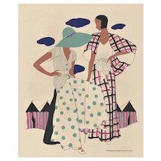 Matted 1931 Art Deco Summer Fashion Print