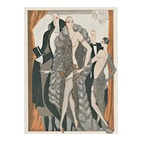 Matted Art Deco Elegant Nude Print