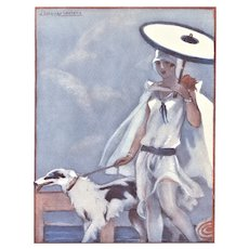 Matted Art Deco 1928 Print Woman with Dog on Beach