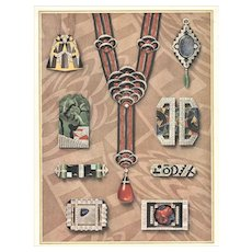 RARE & EXQUISITE original French lithograph of ART DECO jewelry