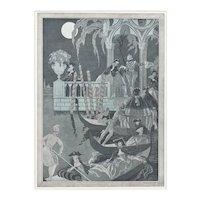 """Matted 1921 French Art Deco George Barbier Vintage Print """"Don Juan de Venice"""""""