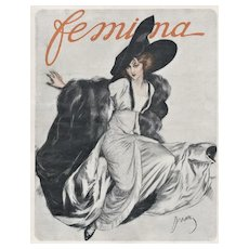 Matted 1911 French Fashion Print