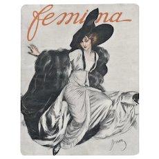 Matted 1911 French Fashion Print