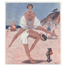 Matted Art Deco FUN in the SUN Beach Print