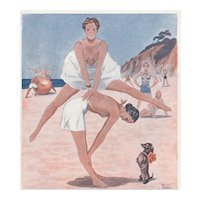 Matted Art Deco FUN in the SUN Beach Print