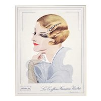 Matted  1933 Print-Art Deco Coiffure Fashion Design