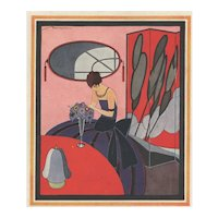 RARE BEAUTY-Matted 1922 Art Deco Fashion Print