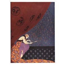 Matted 1926 Erté Art Deco Print-Woman with a Mirror