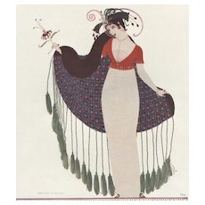 Matted 1912 Vintage Fashion Print-Paul Iribe