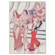 Matted French Art Deco Fashion-Risque with Humor
