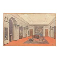 Matted French Art Deco Architecture Interior Room Design Lithograph- 1925