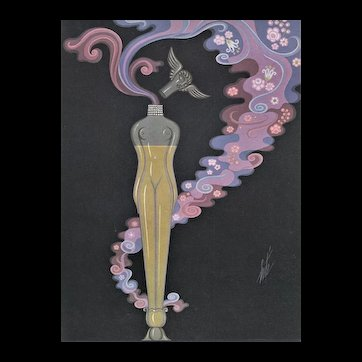 Matted Art Deco Perfume Bottle Print by Erté