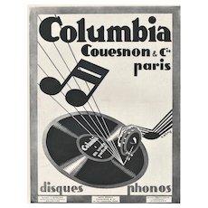 Art Deco 1929 French Music Advertisement Print