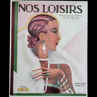 1929 Matted Art Deco Magazine Cover Art-